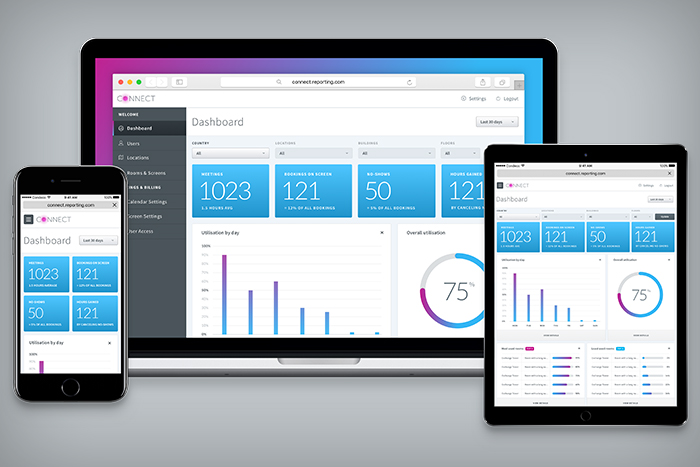 Connect Dashboard showing reporting function on Desktop, Tablet and Mobile devices.